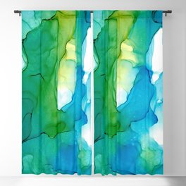Blue Green Modern Abstract 131 Alcohol Ink Painting by Herzart Blackout Curtain