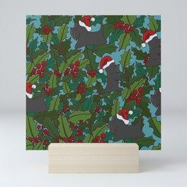 Christmas Dog Pattern Mini Art Print