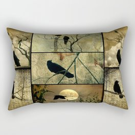 Aged Crow Collage Rectangular Pillow