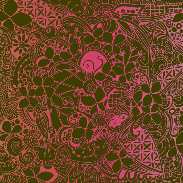Olive square, pink floral doodle, zentangle inspired art Comforters