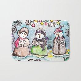 Holiday Snowman Singing Trio Bath Mat