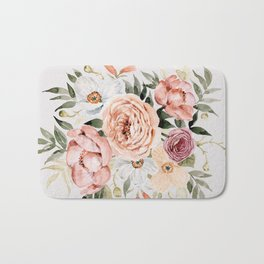 Muted Peonies and Poppies Bath Mat