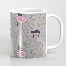 Black cats on flowers Coffee Mug
