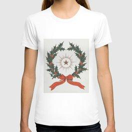 Vintage Christmas Greetings Wreath (1906) T-shirt