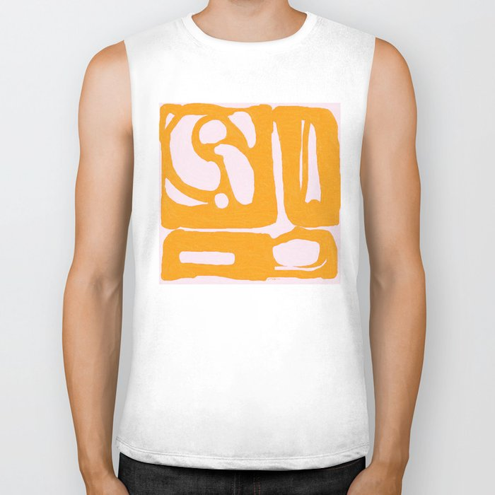Abstract in Yellow and Cream Biker Tank