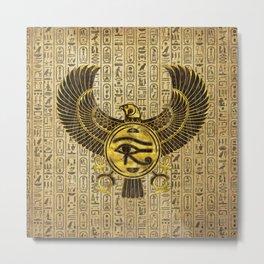 Egyptian Eye of Horus - Wadjet Gold and Wood Metal Print