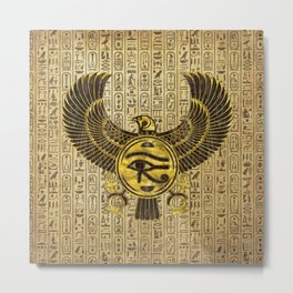 Egyptian Eye of Horus - Wadjet Gold and Wood Metal Print
