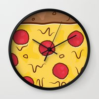pizza Wall Clocks featuring Pizza by Michael Walchalk
