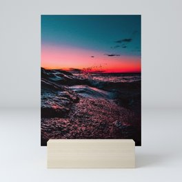 New England seacoast scene at sunset Mini Art Print