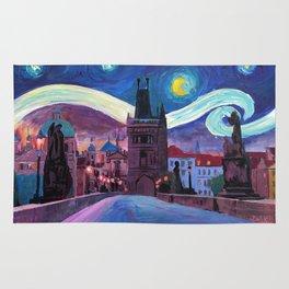 Starry Night in Prague - Van Gogh Inspirations on Charles Bridge Rug