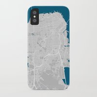san francisco map iPhone & iPod Cases featuring San Francisco city map grey colour by MCartography