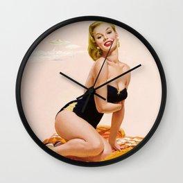 Pin Up Girl at Beach Wall Clock