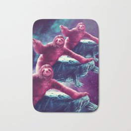 Crazy Funny Space Sloth Riding On Turtle Bath Mat