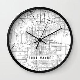 Fort Wayne Map, USA - Black and White Wall Clock