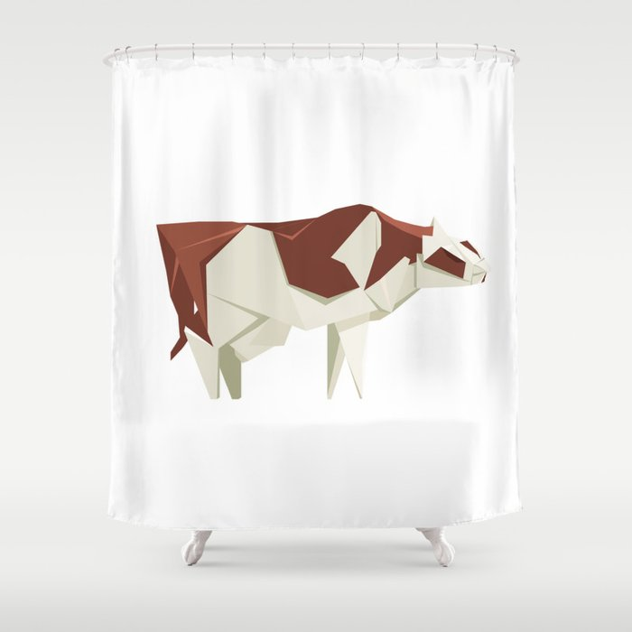Origami Cow Shower Curtain By Staskhabarov
