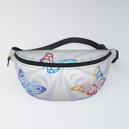 Big Butterflies with grey background Fanny Pack
