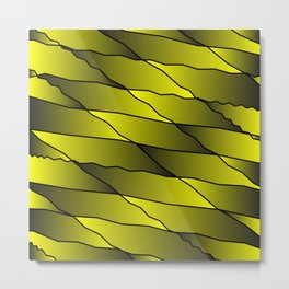 Slanting repetitive lines and rhombuses on iridescent yellow with intersection of glare. Metal Print