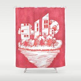 Red Floatie Island Buildings Shower Curtain