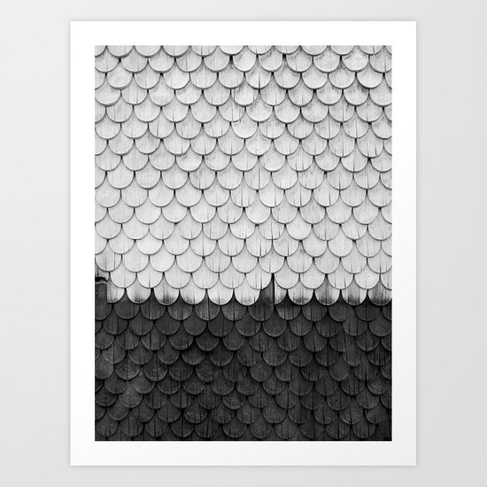 SHELTER / white and black Art Print
