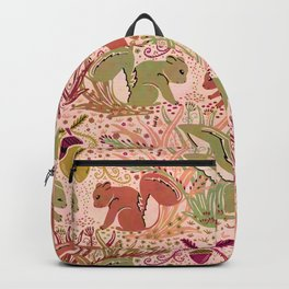 Squirrel in Woodland Fern Forest , Cute Squirrels Love hidden among the Acorn Nuts & Plants Backpack