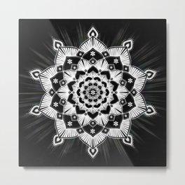Radiant Glowing Mandala Black & White Metal Print