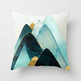 Gold and Blue Hills Throw Pillow