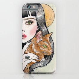 The Girl and Her Cat iPhone Case