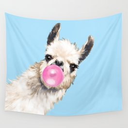 Bubble Gum Sneaky Llama in Blue Wall Tapestry