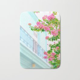 Colonial Havana Architecture with Pink Bougainvillea Bath Mat