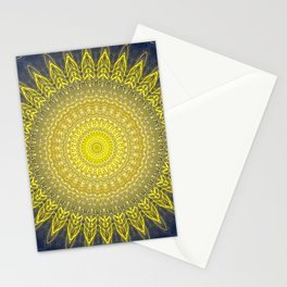 Bright Gold Navy Bohemian Mandala Stationery Cards