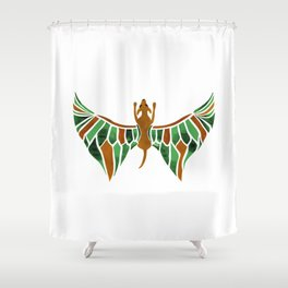 Flying Dog with Green Wings Shower Curtain