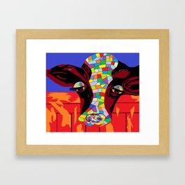 Calico Cow Framed Art Print