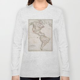 Vintage Map of North and South America (1843) Long Sleeve T-shirt