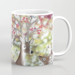 white tailed deer, tufted titmice, & cherry blossoms Coffee Mug