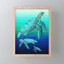 Sea Turtle Turquoise Oceanlife Framed Mini Art Print