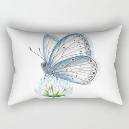 Blue & White Butterfly Rectangular Pillow