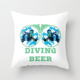 Scuba diving and drinking beer Throw Pillow
