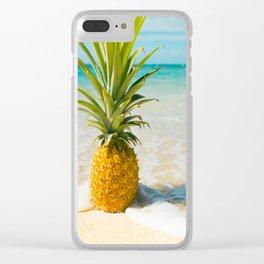 Pineapple Beach Clear iPhone Case