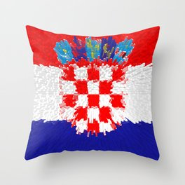 Extruded flag of Croatia Throw Pillow