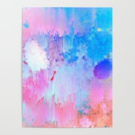 Abstract Candy Glitch - Pink, Blue and Ultra violet #abstractart #glitch Poster
