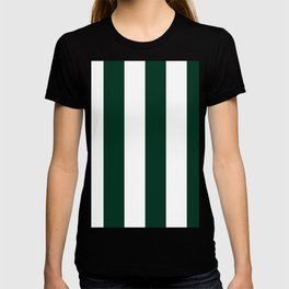 Wide Vertical Stripes - White and Deep Green T-shirt