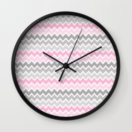 Grey Gray Pink Ombre Chevron Wall Clock