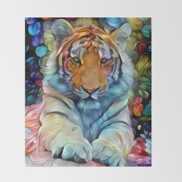 Painted Tiger Throw Blanket