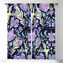 Purple and Black Flower Pattern  Blackout Curtain