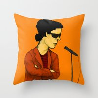 lou reed Throw Pillows featuring Lou Reed by Nick Gibney