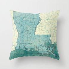 Louisiana State Map Blue Vintage Throw Pillow