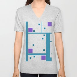 Violet Rectangle with turquoise Lines Unisex V-Neck