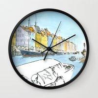 denmark Wall Clocks featuring Denmark - Copenhagen by World Sketching Tour - Luís Simões