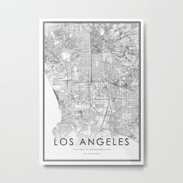 Los Angeles City Map United States White and Black Metal Print