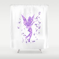 tinker bell Shower Curtains featuring Tinker Bell Disneys by Carma Zoe